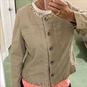 Lane Bryant Tan Denim Style Embellished Jacket